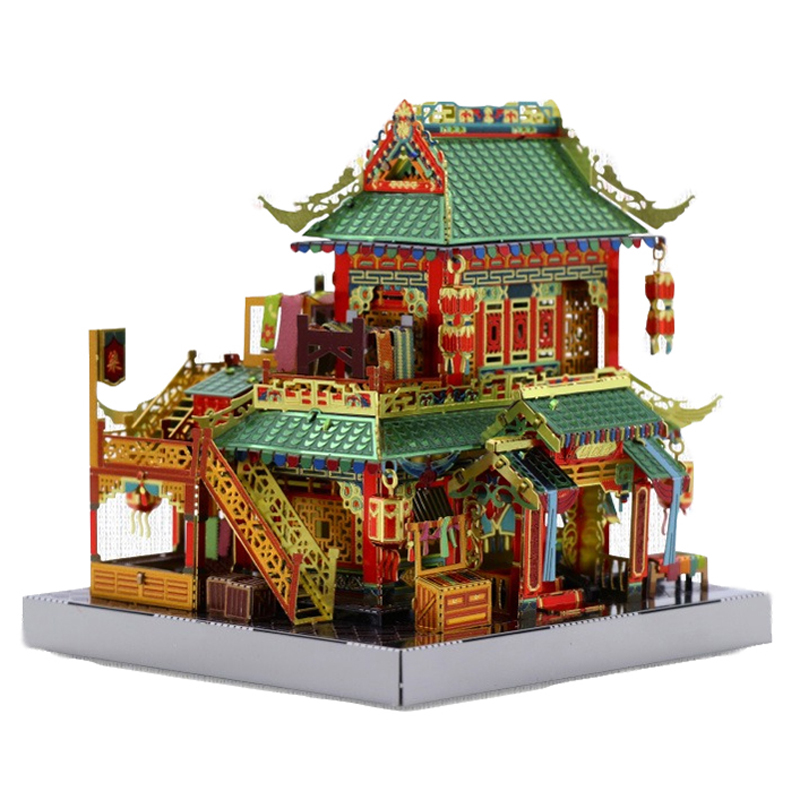 2019 MU 3D Metal Puzzle Chinatown Building MERCERY STORE Model Kits DIY 3D Assemble Jigsaw Toys LED Light GIFT For Children