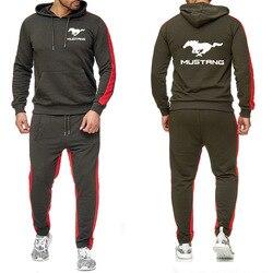 Мужские толстовки с капюшоном для Mustang, толстовка с логотипом автомобиля, модный хлопковый весенне-осенний спортивный костюм, мужские толст...