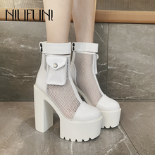 NIUFUNI Sexy Mesh Ankle Boots Women Back Slim Zipper Platform High Heels Model Wedding Round Toe Shoes For Women Botas mujer nancyjayjii purple ruffles knee high boots zipper winter round toe spike heels women shoes woman botas botines zapatos mujer