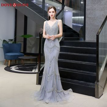 Luxury Beading Crystal Mermaid Evening Dresses 2020 Deep V-Neck Sleeveless Formal Party Long Prom Gowns Shawls vestidos de festa gorgeous coral mermaid prom 2019 new v neck luxury crystal tulle beaded backless sequin long formal gowns bridesmaid dresses