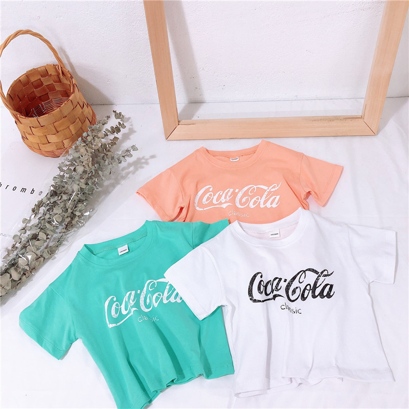 2 3 4 5 6 Years Toddler Girls T-shirts Summer Casual Letter Print Short Sleeve Tops For Girl Kids Clothing 2020 Baby Girl Tshirt