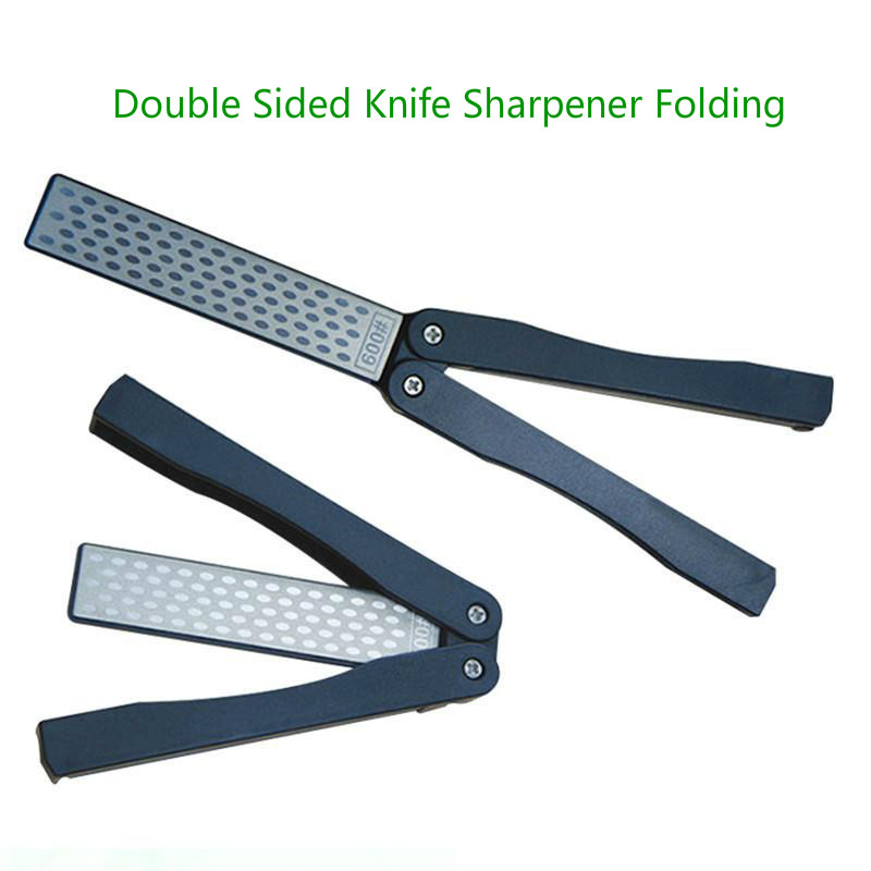 Outdoor Kitchen Knife Sharpener 2 Side Folding Fan-shape Stone Diamond Knife Sharpener Outdoor Repair Tools Kitchen Accessories