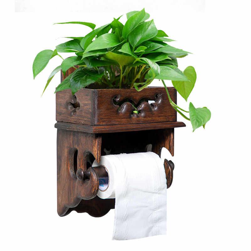 Vintageไม้กระดาษผ้าเช็ดตัวห้องน้ำRackห้องน้ำกล่องกระดาษทิชชูห้องน้ำม้วนกระดาษชำระผู้ถือฟรีเจาะ