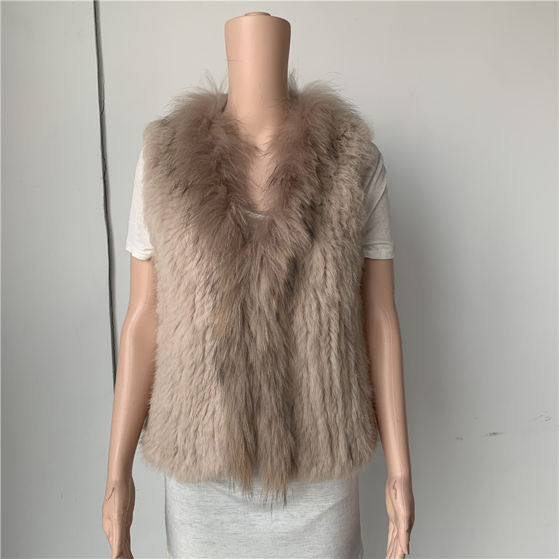 Sales Clearance   Natural Real  Rabbit Fur Vest  With Raccoon Fur Collar  Waistcoat/jackets Rabbit Knitted C013