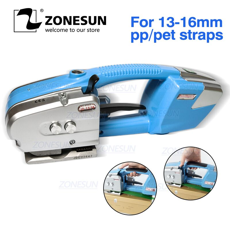 ZONESUN Battery Strapping Tools Hand Held PP PET Strapping Machine Plastic Belt Packaging Battery Strap Width13-16mm JD16