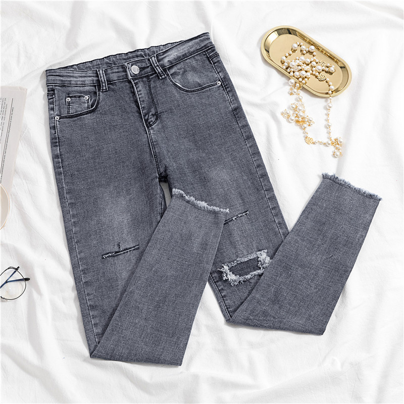 High Waist Hole Skinny Jeans Woman 2020 Spring Summer High Waist Elastic Gray Vintage Denim Pencil Pants Female Jeans Fashion