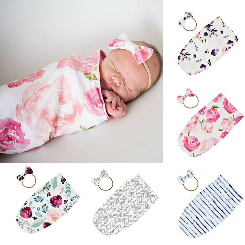 Newborn Baby Infant Floral Swaddle Sleeping Bag Sack Muslin Wrap Headband Set Photoprop