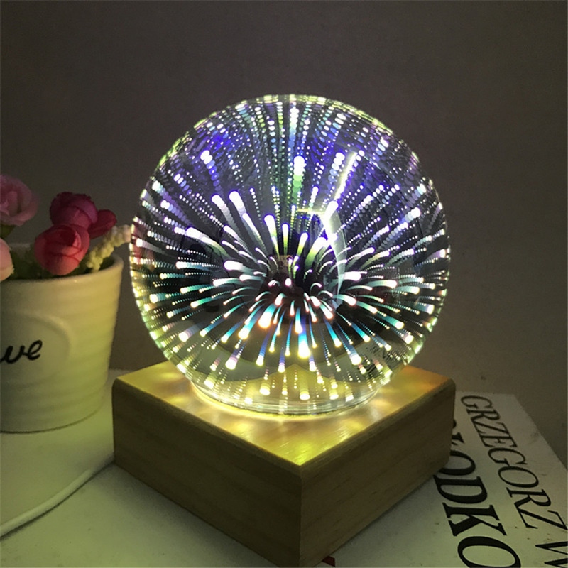 3D Transparent Glass Ball Night Lights Magic Colorful Firework Light Solid Wood Base Festival Atmosphere Lamp