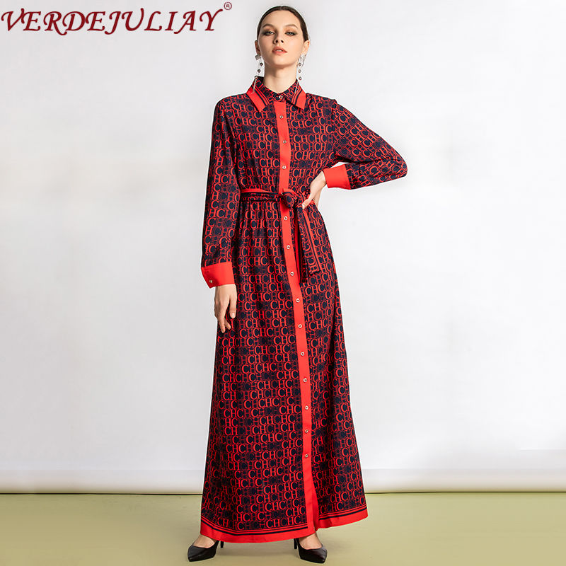 VERDEJULIAY European Maxi Dresses Women Turn-Down Collar Single Breasted English Style Letter Fashion Print Long Shirt Dress