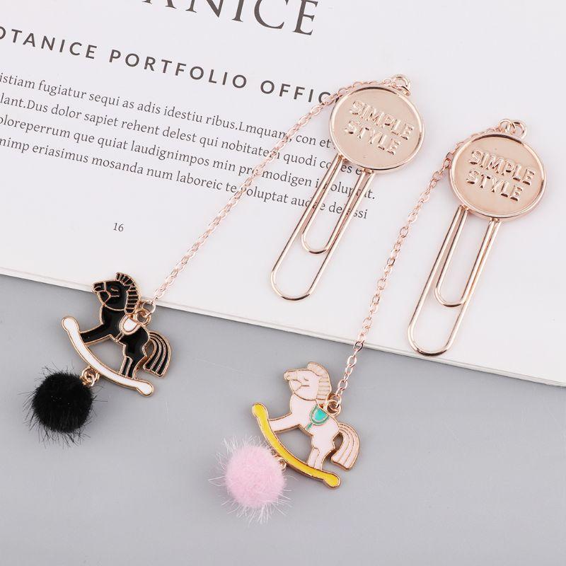 New Hair Ball Trojan Color Feather Pendant Bookmark Elegant Metal Pendant Cute Decorative Book Folder