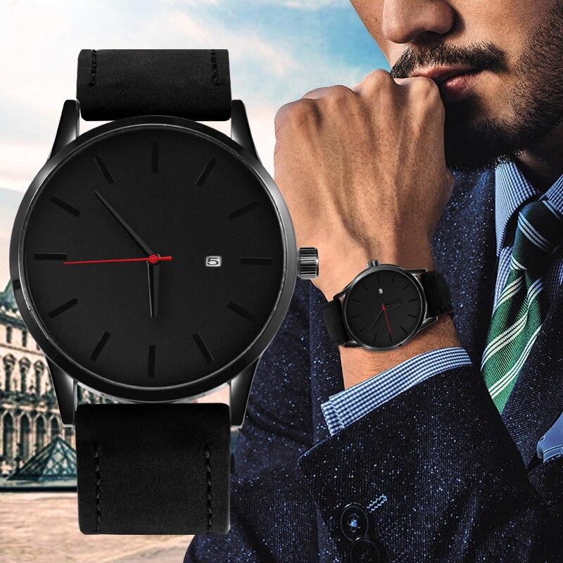 Watches Men Fashion Sport Stainless Steel Case Leather Band Watch Quartz Business Wristwatch Reloj Hombre Relogio Masculino 2019