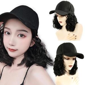 Image 5 - Perruque Bob synthétique courte casquette de Baseball, perruque en Fiber noire et brune résistante à la chaleur pour femmes
