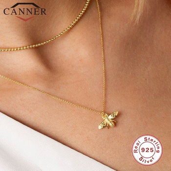 CANNER Real 925 Sterling Silver INS Insect Bee Necklace Round Choker Necklace For Women Clavicle Chain Fine Jewelry collares roxi minimalist small round pendant necklace women 925 sterling silver necklace geometric karma circle necklace choker collares