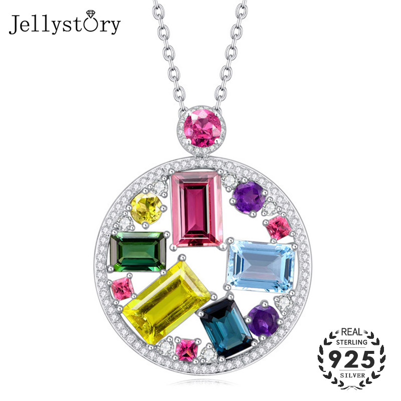 Jellystory Trendy Silver 925 Necklace with Colorful Topaz Zircon Gemstones Pendant for Women Wedding Party Gifts Fine Jewellery