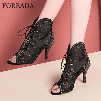 FOREADA Woman Gladiator Shoes Cross Tied High Heels Rhinestone Thin Heel Pumps Rome Peep Toe Ladies Party Footwear Black 34-40