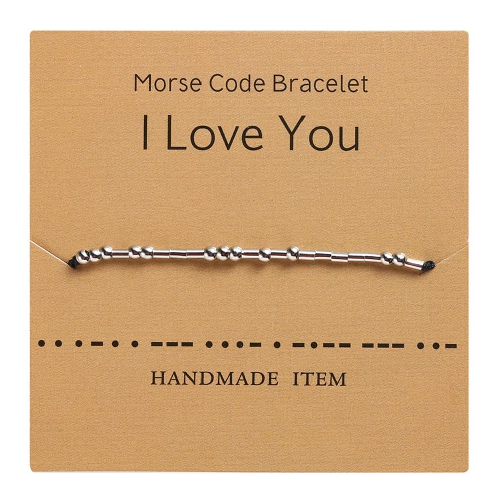 1PCS Personality Morse Code Bracelet String Braiding Matching Couple Jewelry Charm Adjustable String Bracelet Bracelets Gift