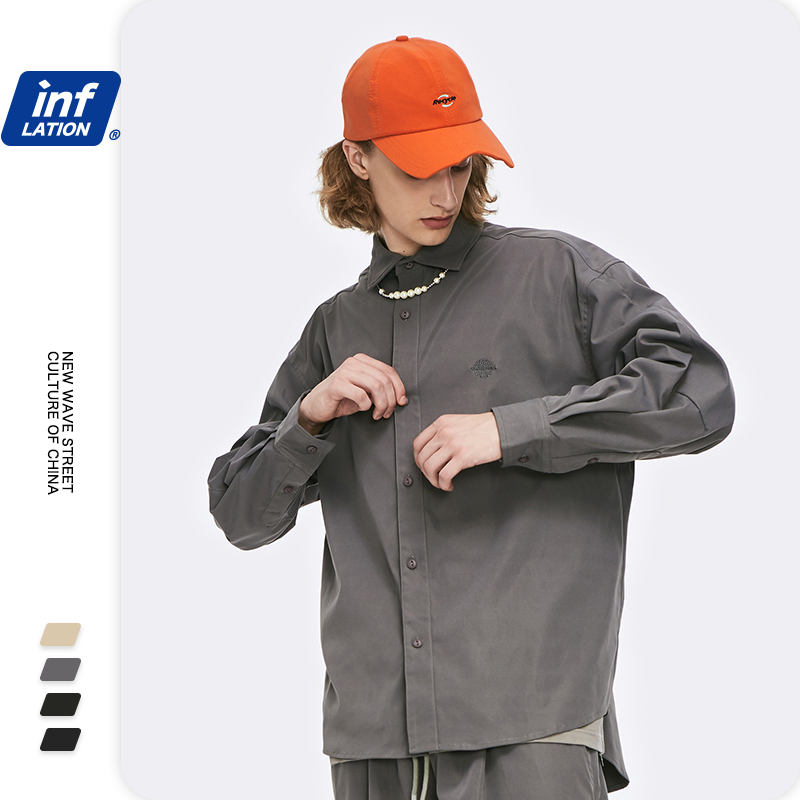 INFLATION Harajuku Men Long Sleeve Shirt Streetwear 2020 Autumn Solid Color Male Shirt Turn-down Collar Loose Fit Men Shirt