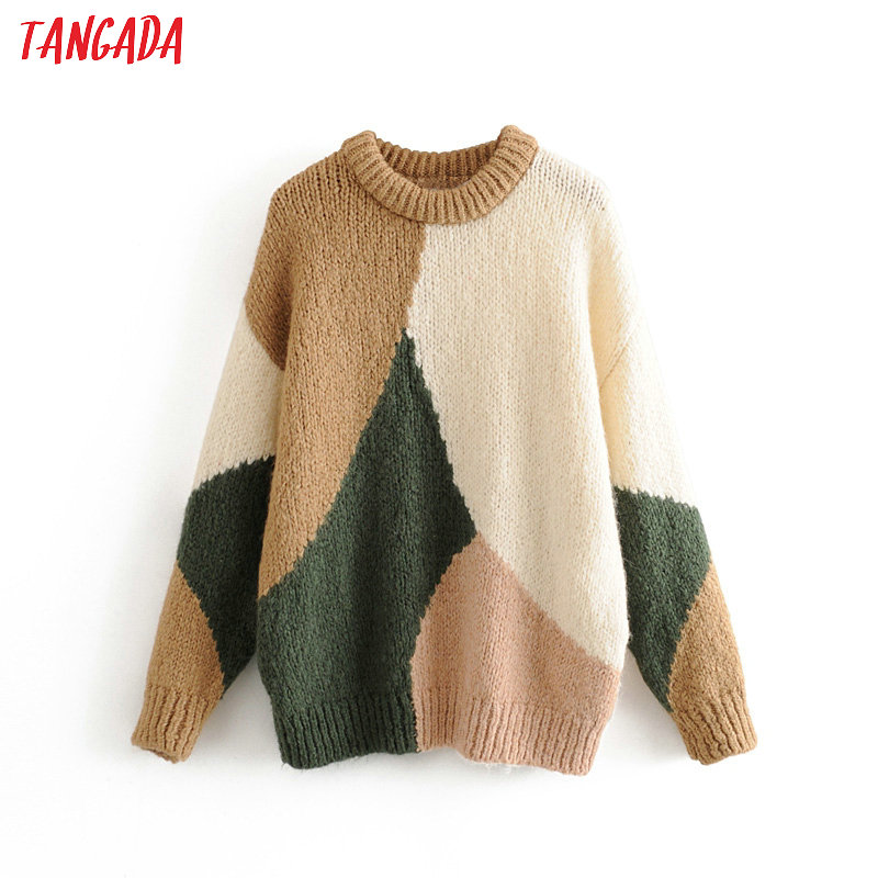 Tangada Korea Chic Women Color Block  Sweater Vintage Ladies Oversized Soft Knitted Jumper Tops 3H230