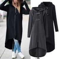 Moda manga longa com capuz trench coat 2019 novo outono preto zíper plus size 5xl veludo longo casaco feminino roupas casaco Casacos     -