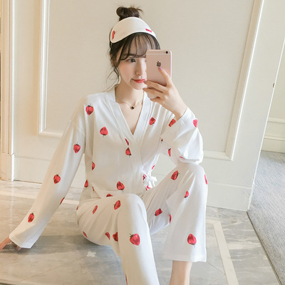 Pajamas Women's Spring And Autumn Japanese-style Kimono Long Sleeve Two-Piece Set Fresh And Sweet Cute Students Loose-Fit Korean