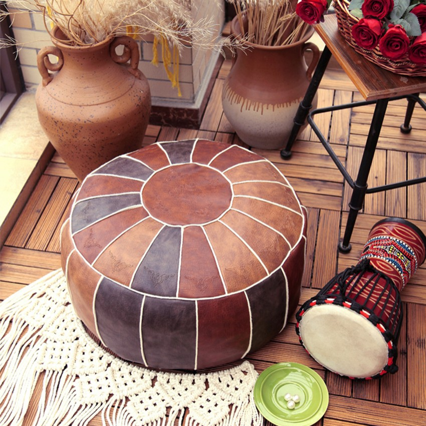 Moroccan PU Leather Pouf Embroider Craft Hassock Ottoman Footstool Round  Large 50*50*25cm  Artificial Leather Unstuffed Cushion 2
