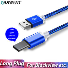 Cabo usb tipo c de 10mm, fio longo para blackview bv9900 bv9600 oukitel doogee umidigi power 3 f2 USB-C cabel carregador de carregamento