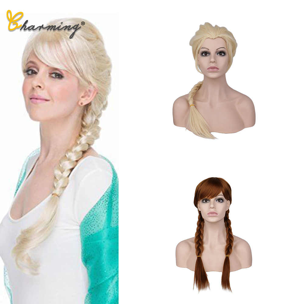 CHARMANT 16 Inch Dubbele Synthetische Paardenstaarten Prinses Elsa Cosplay Pruiken Kids Lange Rechte Blond Haar Pruik Voor Kinderen