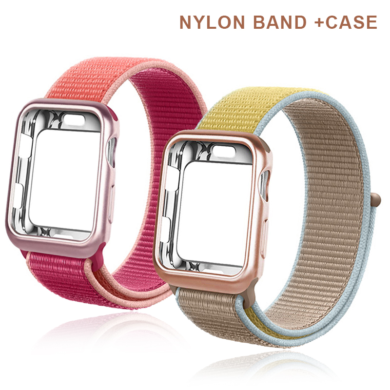 Sport Soft Belt Breathable Nylon Strap+case Apply To Apple Series Watch 5 4 3 2 1Series 38mm 42mm Band For Iwatch 40mm 44mm Band