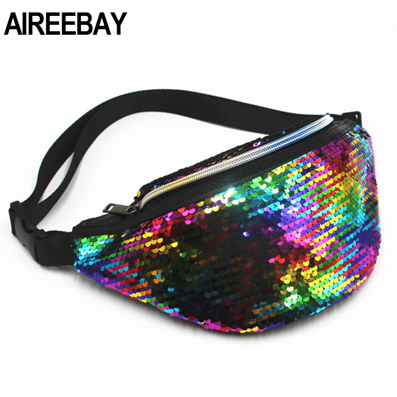 AIREEBAY Waist Bag Women's Fanny Pack Sequin Leather Chest Bag Leisure Travel Pouch Fashion Phone Bag Bum Bag