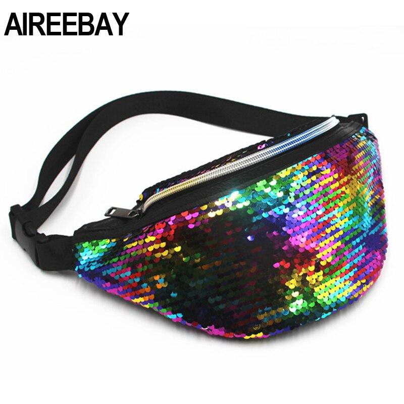 AIREEBAY Waist Bag Women's Fanny Pack Sequin Leather Chest Bag Leisure Travel Pouch Fashion Phone Bag Bum Bag