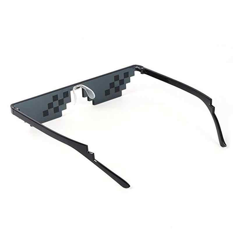 חדש פסיפס משקפי שמש טריק צעצוע Thug Life משקפיים להתמודד עם זה משקפיים פיקסל נשים גברים שחור פסיפס משקפי שמש מצחיק צעצוע
