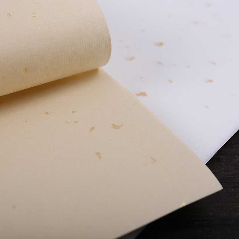 Chinese Calligraphy Papers Brushes Writing Half Ripe Xuan Paper Chinese Painting Rice Paper With Golden Spotted 50 Sheets Aliexpress