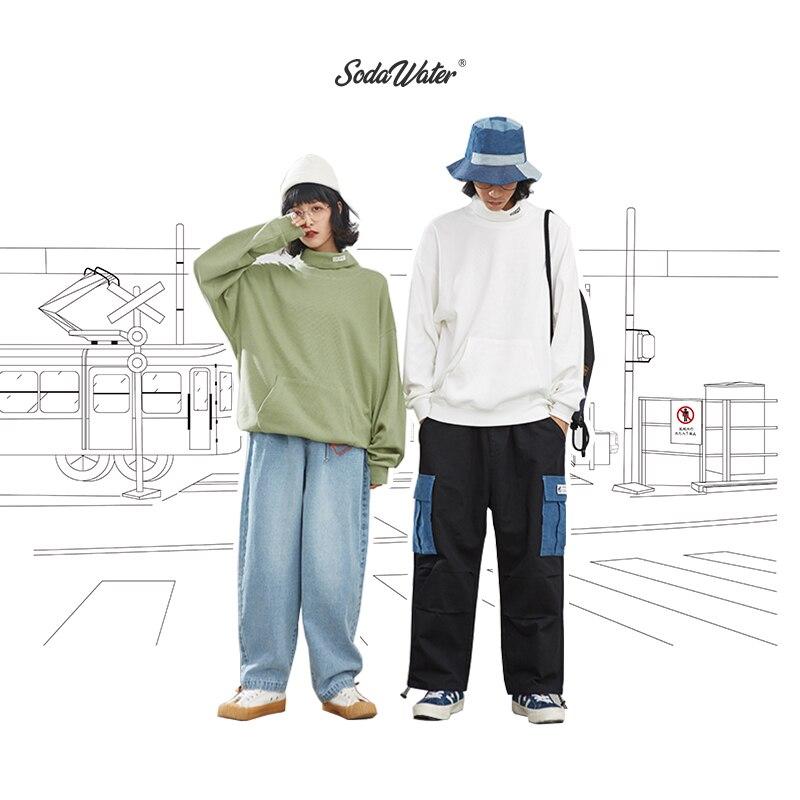 SODAWATER Men Turtleneck Sweatshirts Streetwear Oversize Skateboard Solid Hoodie Men 2019 Autumn Hip Hop Cotton Men Tops 9622W