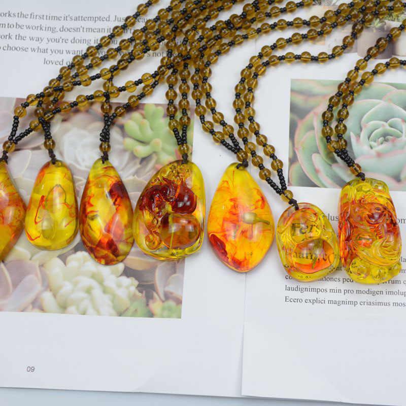 Brasil Alami Bunga Tanaman Serangga Emas Scorpion Amber Liontin Kalung Perhiasan Hadiah untuk Wanita Pria