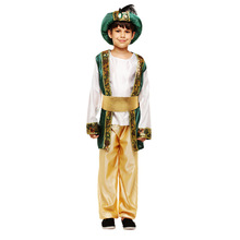 Cute Arab Indian Prince Costume Cosplay For Boys Halloween Costume For Kids Palace Royal Suit Dress Up Carnival Party Clothing
