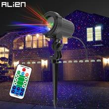 Proyector de luz láser de Navidad con estrella estática, proyector de luz láser de ALIEN remoto RGB con movimiento, impermeable para jardín y exteriores, luces de ducha decorativas para árbol de Navidad