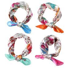 Square Silk Scarf 2021 Fashion Silk Satin Print Small Kerchief Shawl Bandana Headscarf Head scarf Female Accesso T4O0 Women M5G7