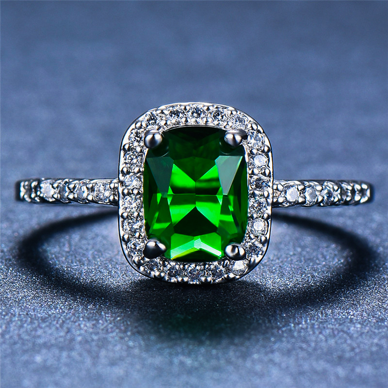 Luxury Female Emerald Green Square Ring 100% Real 925 Sterling Silver Engagement Ring  Vintage Wedding Rings For Women