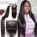 Бразильские пряди из 100% человеческих волос, 3, 4 пряди с фронтальной сеткой 30, 40 дюймов, прямые пряди без повреждений с застежкой и фронтально...