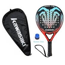 New Kawasaki Padel Tennis Carbon Fiber Soft EVA Face Tennis Paddle Racquet Racket with Padel Bag Cover With Free Gift X700