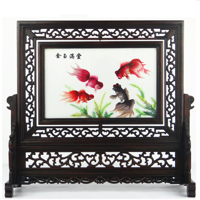 Chinese Style Decor Crafts Decorations Office Home Accessories Ornaments Suzhou Silk Embroidery Paintings Wenge Wood Frame Gift