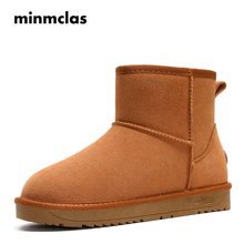 Minmclas Womens Short Snow Boots  Ankle Botas Mujer Invierno Warm Winter Classic Platform Shoes Cow Leather for Gilrs