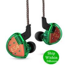 KZ ES4 1DD + 1BA Hifi Sport słuchawki douszne dynamiczny sterownik słuchawki z redukcją szumów wymiana kabla AS10 ZS10 BA10 ZST ZS6 ZSN
