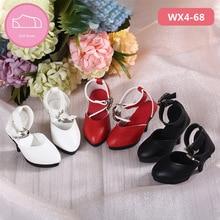 Ayakkabı bebek BJD 1 çift 6cm PU deri çizmeler moda Mini oyuncak Shoes1/4 bebek Chateau fairyland Luts bebek 2 renk aksesuarları