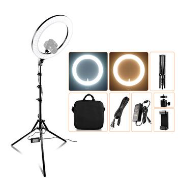 Spash wielofunkcyjny wodoodporny 14 cal 18 cal lampa pierścieniowa światło LED do kamery lampka do makijażu z stojak trójnóg TL-160S TL-600S L4500 RL-12A RL-18A tanie i dobre opinie capsaver CN (pochodzenie) Ue wtyczka Światło dzienne 5600 K