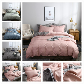 FAMIFUN Classic Bedding Set Solid Color Duvet Cover Sets Quilt Covers Pillowcases European Size King Queen Gray Blue Pink Green
