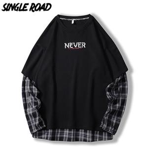 Image 1 - SingleRoad 대형 Crewneck 스웨트 남성 격자 무늬 패치 워크 힙합 일본어 Streetwear 블랙 까마귀 스웨터 남성 후드