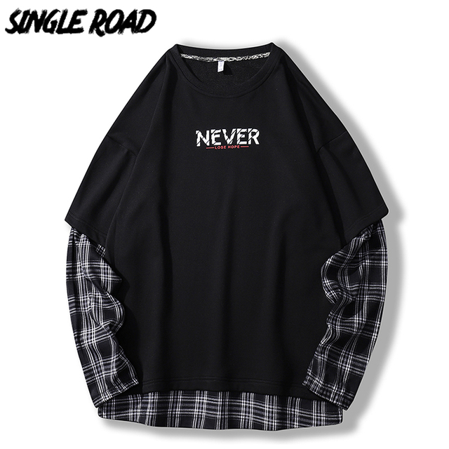 SingleRoad 대형 Crewneck 스웨트 남성 격자 무늬 패치 워크 힙합 일본어 Streetwear 블랙 까마귀 스웨터 남성 후드