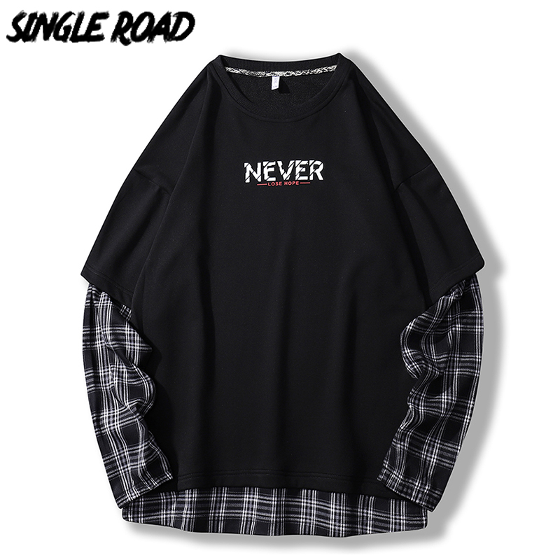 SingleRoad Oversized Crewneck Sweatshirt Men Plaid Patchwork Hip Hop Japanese Streetwear Black Hoodie Sweatshirts Male Hoodies