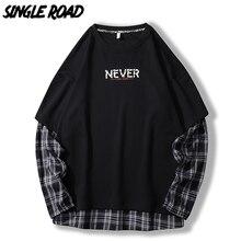 SingleRoad גדול צווארון עגול סווטשירט גברים משובץ טלאי היפ הופ יפני Streetwear הסווטשרט שחור חולצות זכר נים